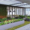 Rooftop veggie garden next condo amenity