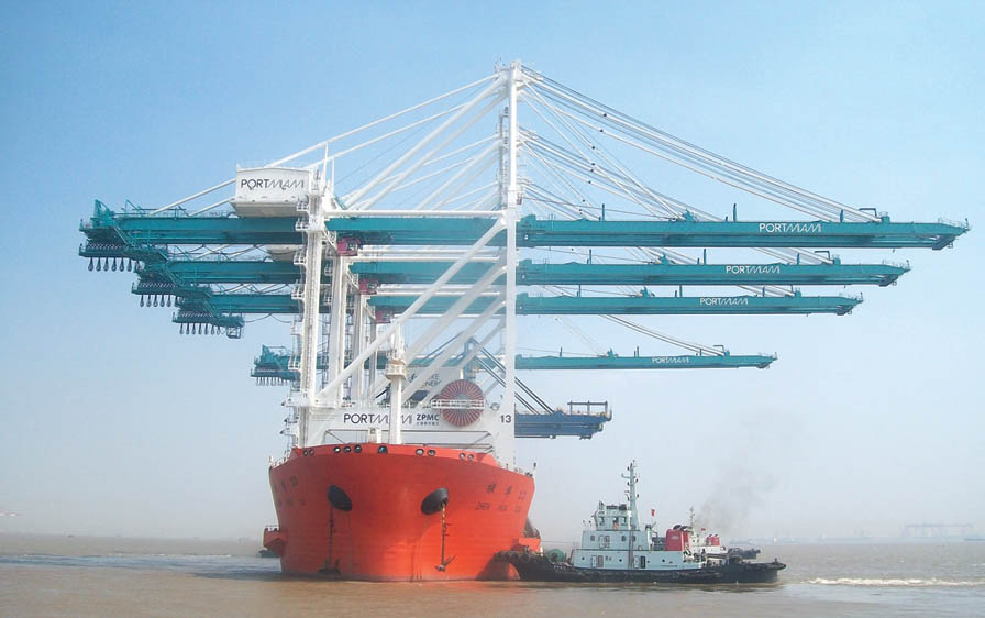Massive cranes on high seas