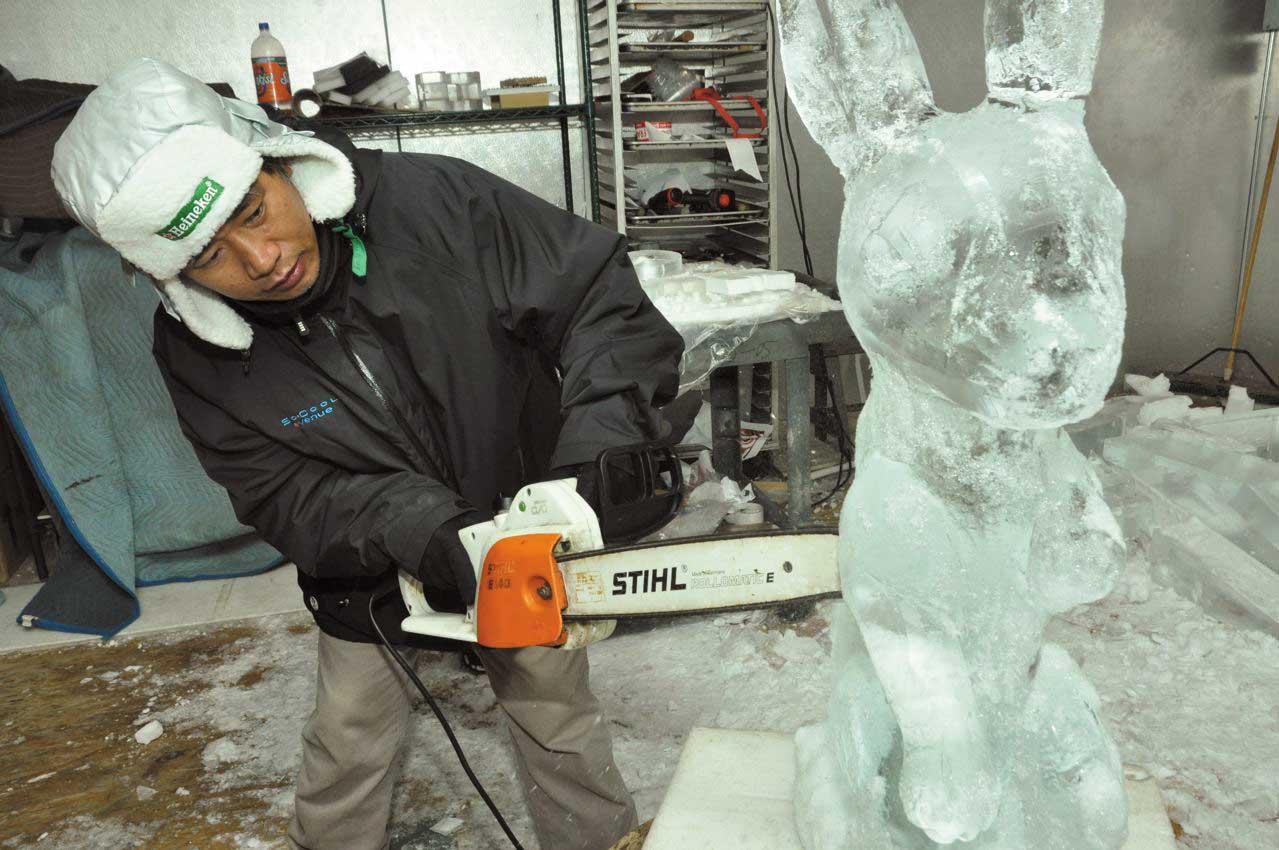 Master ice carver Joseph Pomiban, 2012.