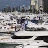 Miami Yacht Show cruising across bay from Miami Beach