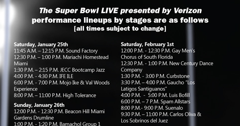 Schedule of the multi-day partying for Super Bowl