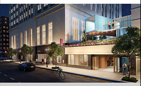 Brew pub with shipping container on top targets historic building