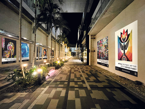 Miami Worldcenter promenade lined with art murals
