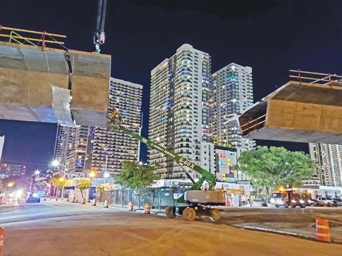 Signature Bridge rising in downtown Miami